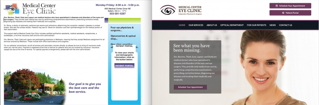 Old Site (Left) Vs. Redesign (Right)